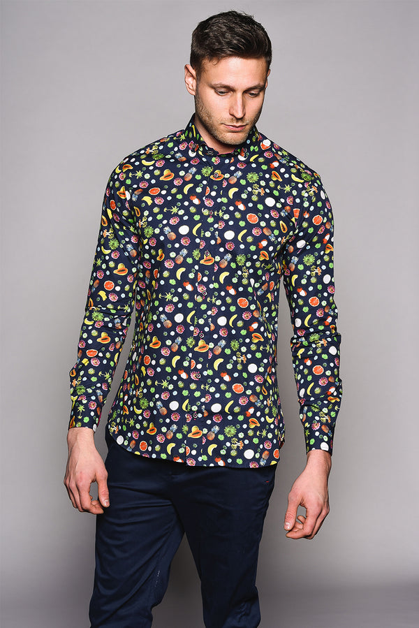 Premium Fruit Print Long Sleeve Shirt - FRUIT - Navy