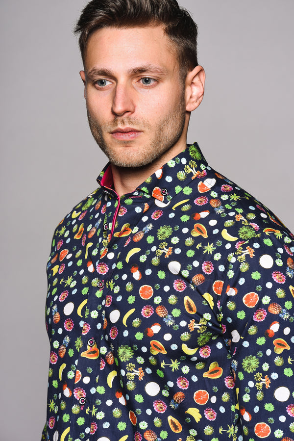 Premium Fruit Print Long Sleeve Shirt – FRUIT - Navy