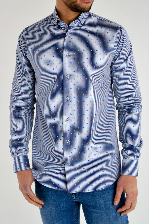Premium Pinstripe Bird Print Long Sleeve Shirt - JASPER - White