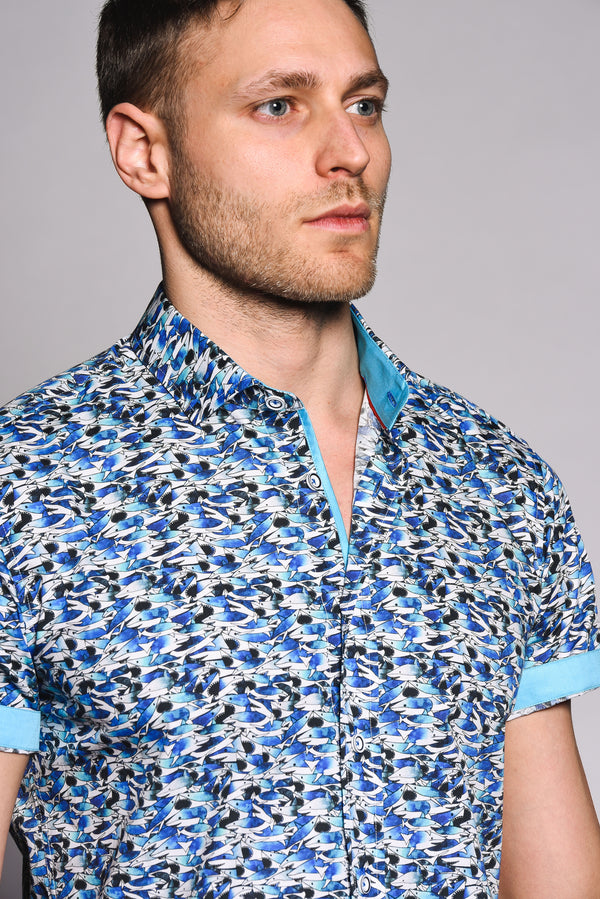 Premium Shark Print Short Sleeve Shirt - JAW - White