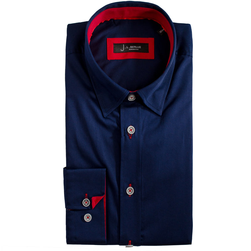 Premium Classic Long Sleeve Shirt - KANE - Navy