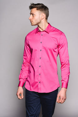 Premium Classic Long Sleeve Shirt - KANE - Hot Pink