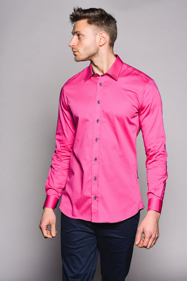 Premium Classic Long Sleeve Shirt – KANE - Hot Pink