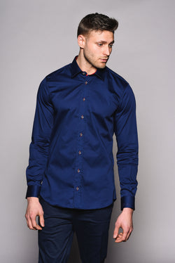 Premium Classic Long Sleeve Shirt – KANE - Navy