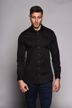 Premium Classic Long Sleeve Shirt - KANE - Black