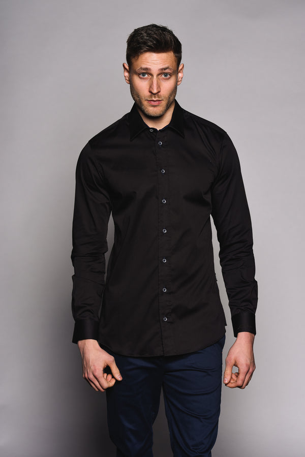 Premium Classic Long Sleeve Shirt – KANE - Black