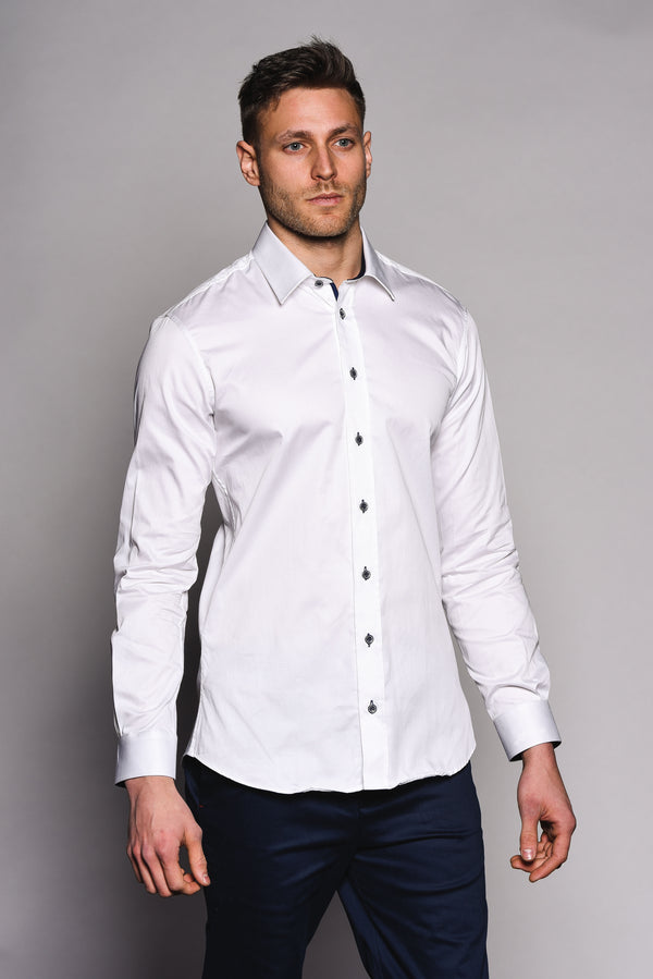 Premium Classic Long Sleeve Shirt - KANE - White