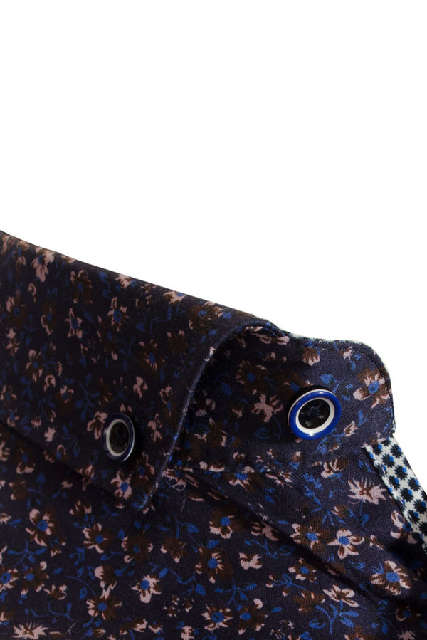 Premium Ditsy Floral Long Sleeve Shirt - LYNX - Navy