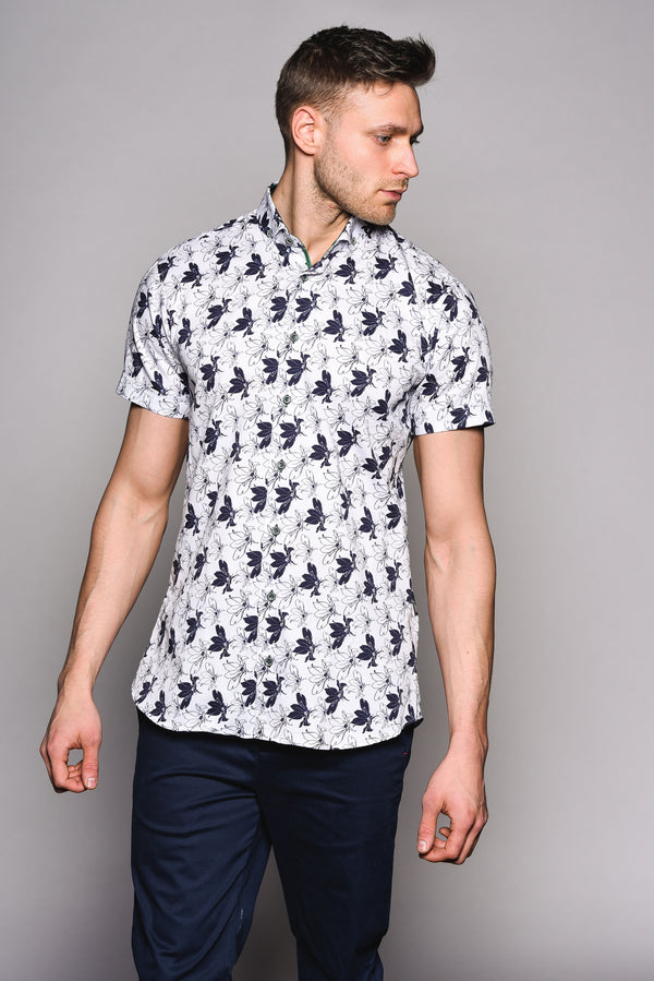 Premium Flower Stencil Short Sleeve Shirt - MAYNA - White