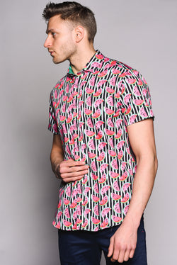 Premium Melon Print Short Sleeve Shirt - MELON - Black