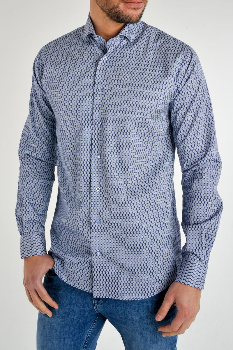 Premium Geometric Print Long Sleeve Shirt - MIRAGE - Blue