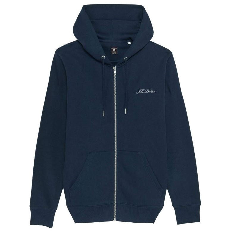 Premium Organic Cotton Zip through Hoodie - MOTTRAM - Navy