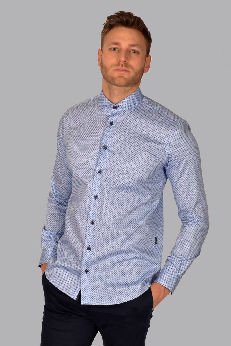 Premium Geo Print Long Sleeve Shirt - NOVELL - Blue