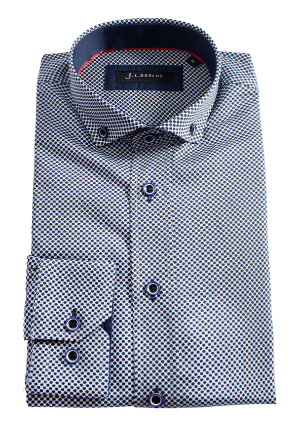 Premium Micro Print Long Sleeve Shirt - PAVAR - White