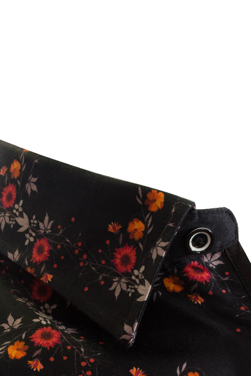 Premium Floral Long Sleeve Shirt - SAGITTA - Navy