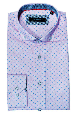 Premium Geometric Print Long Sleeve Shirt - SCORPI - White