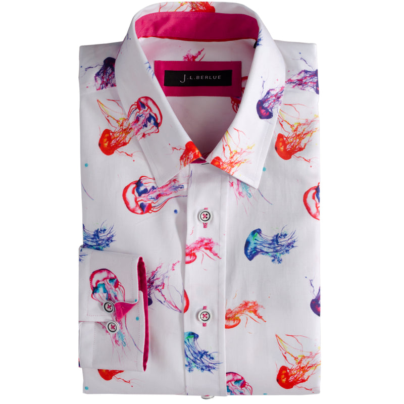 Premium Jellyfish Print Long Sleeve Shirt – STING - White