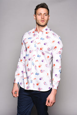 Premium Jellyfish Print Long Sleeve Shirt - STING - White