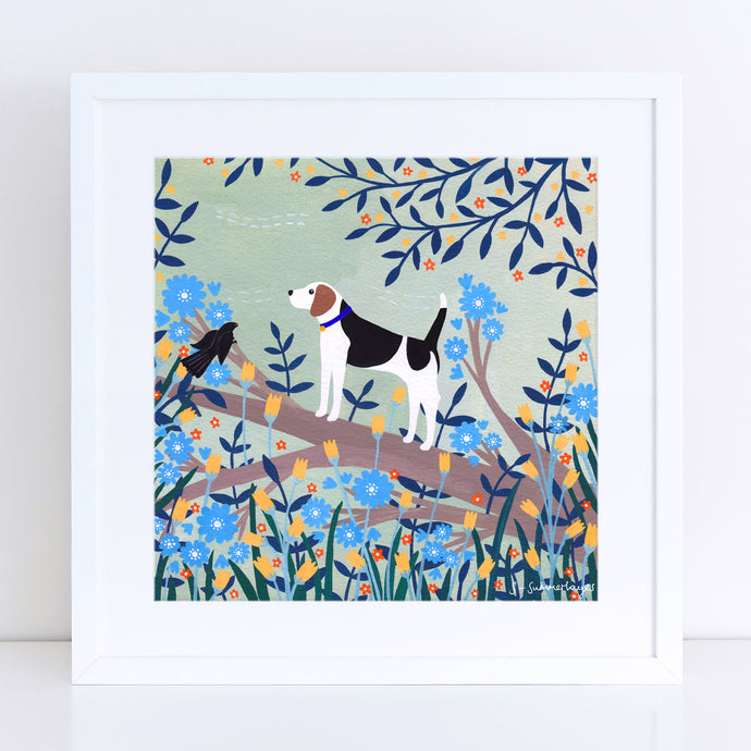 Beagle on Branch Art Print