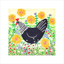 Load image into Gallery viewer, Black Hen Among Yellow Flowers Art Print