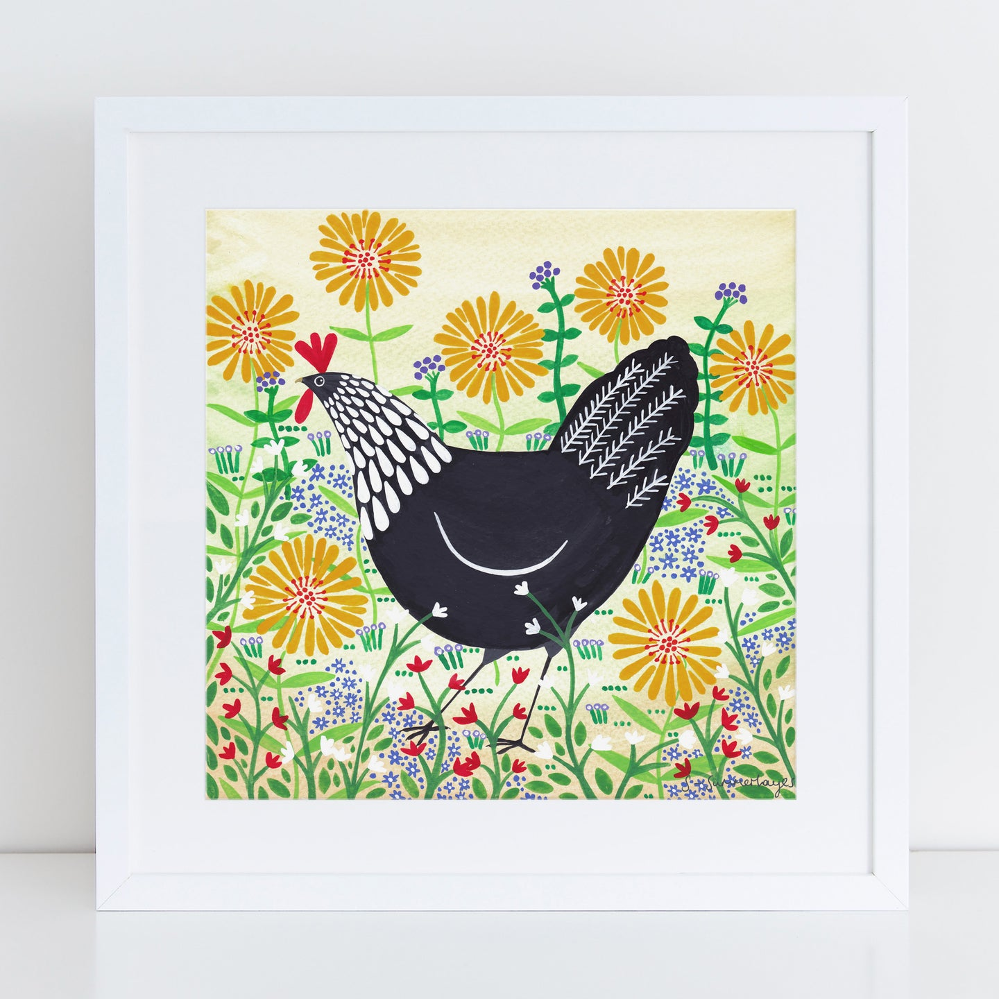 Black Hen Among Yellow Flowers Art Print