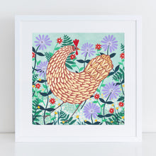 Load image into Gallery viewer, Brown Chicken Among Lilac Flowers Art Print