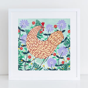 Brown Chicken Among Lilac Flowers Art Print