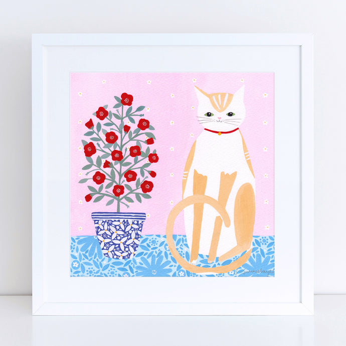 Cat With Pot Plant Art Print