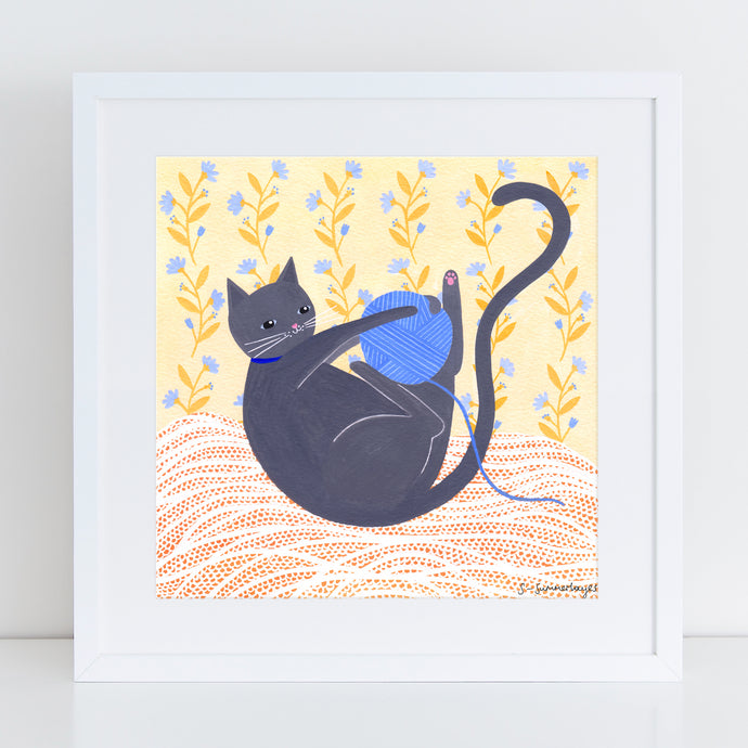Cat With Wool Art Print
