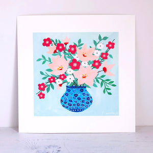 Floral On Mint Art Print