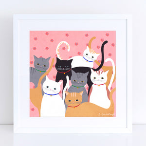 Hello Cats Art Print