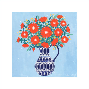 Jug of Orange Flowers Art Print