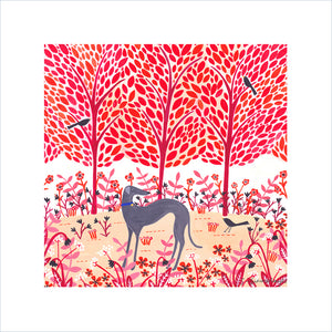 Autumn Greyhound Art Print