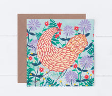 Load image into Gallery viewer, Brown Chicken Among Lilac Flowers Greeting Card