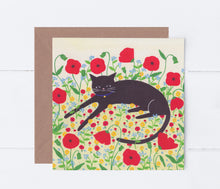 Load image into Gallery viewer, Cat With Poppies Greeting Card