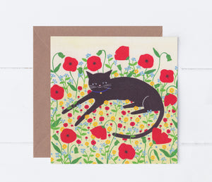 Cat With Poppies Greeting Card