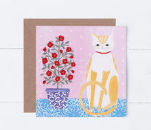 Load image into Gallery viewer, Cat With Pot Plant Greeting Card