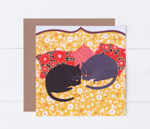 Cats Sleeping Greeting Card