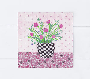 Checkered Vase Greeting Card