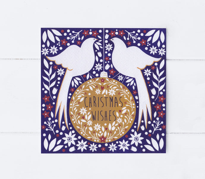 Doves On A Bauble Greeting Card