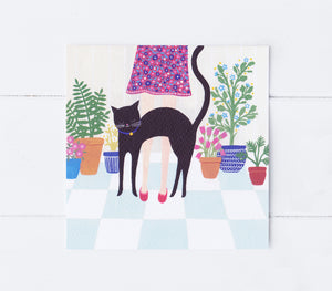 Hungry Cat Greeting Card