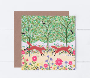 Summer Foxes Greeting Card