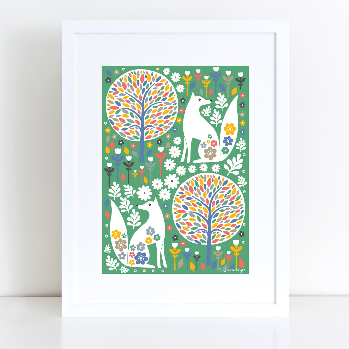 Scandi Foxes Art Print