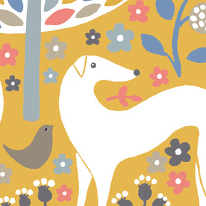 Scandi Mustard Greyhounds Art Print