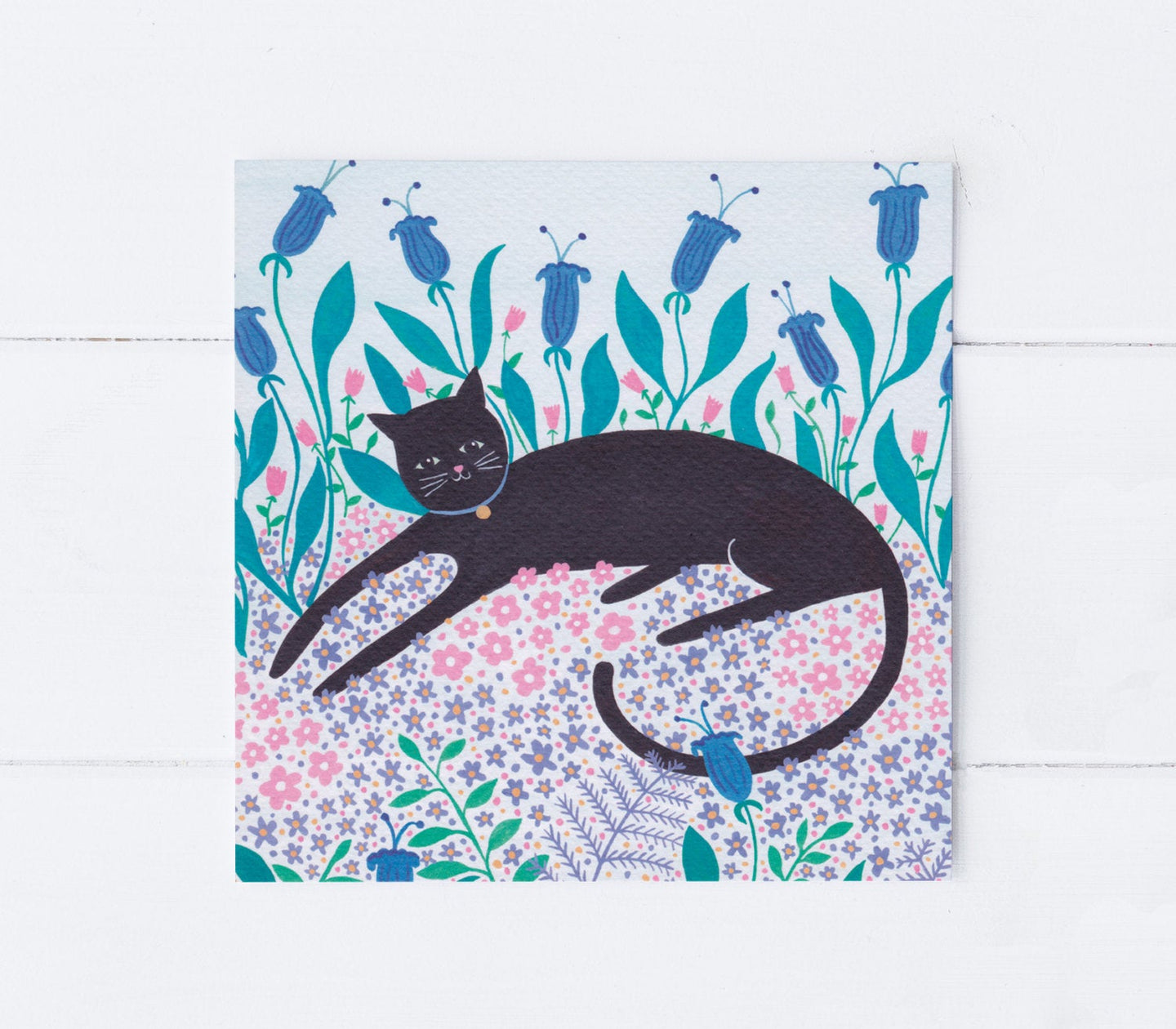 Cat Among Flowers Greeting Card