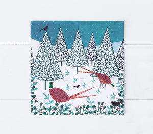 Winter Pheasants Greeting Card