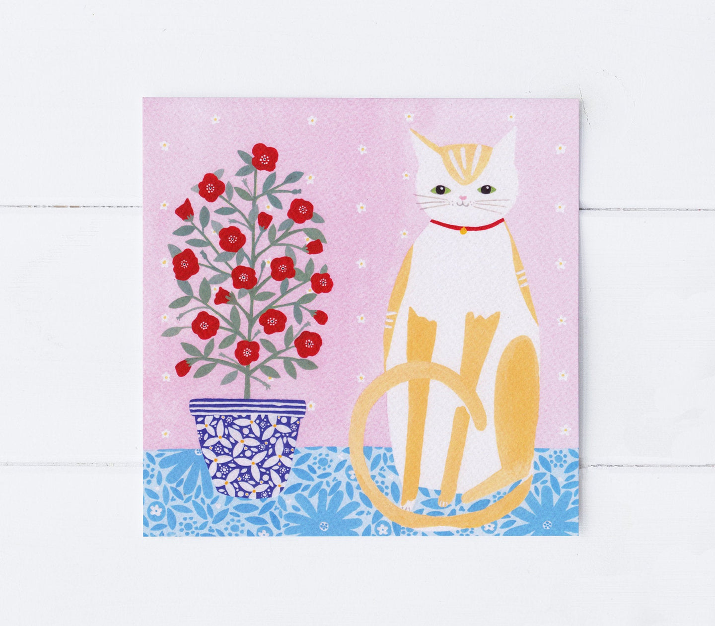 Cat With Pot Plant Greeting Card