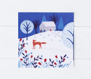 Winter Fox Cottage Greeting Card