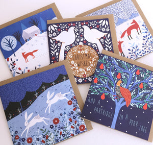 Winter Hares Greeting Card