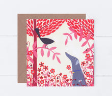 Load image into Gallery viewer, Autumn Greyhound And Blackbird Greeting Card